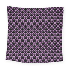 Scales2 Black Marble & Purple Colored Pencil (r) Square Tapestry (large) by trendistuff