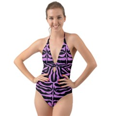 Skin2 Black Marble & Purple Colored Pencil (r) Halter Cut Out One Piece Swimsuit