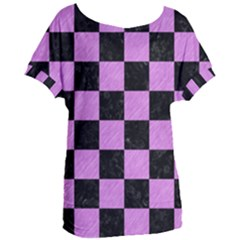 Square1 Black Marble & Purple Colored Pencil Women s Oversized Tee