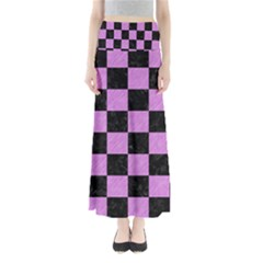 Square1 Black Marble & Purple Colored Pencil Full Length Maxi Skirt