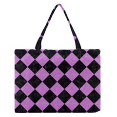 Square2 Black Marble & Purple Colored Pencil Zipper Medium Tote Bag by trendistuff