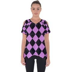 Square2 Black Marble & Purple Colored Pencil Cut Out Side Drop Tee
