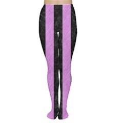 Stripes1 Black Marble & Purple Colored Pencil Women s Tights by trendistuff