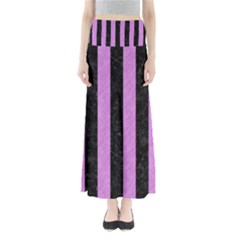 Stripes1 Black Marble & Purple Colored Pencil Full Length Maxi Skirt