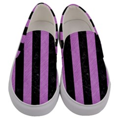 Stripes1 Black Marble & Purple Colored Pencil Men s Canvas Slip Ons