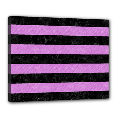 Stripes2 Black Marble & Purple Colored Pencil Canvas 20  X 16