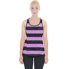 Stripes2 Black Marble & Purple Colored Pencil Piece Up Tank Top