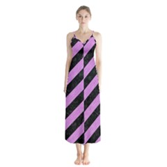 Stripes3 Black Marble & Purple Colored Pencil (r) Button Up Chiffon Maxi Dress