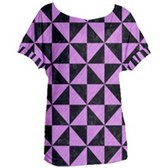 Triangle1 Black Marble & Purple Colored Pencil Women s Oversized Tee by trendistuff
