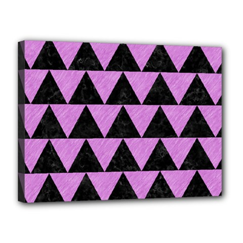 Triangle2 Black Marble & Purple Colored Pencil Canvas 16  X 12  by trendistuff