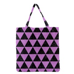 Triangle3 Black Marble & Purple Colored Pencil Grocery Tote Bag by trendistuff