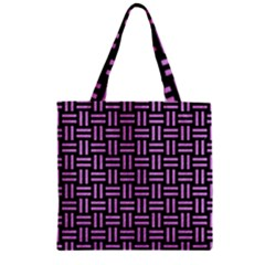 Woven1 Black Marble & Purple Colored Pencil (r) Zipper Grocery Tote Bag by trendistuff