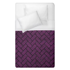 Brick2 Black Marble & Purple Leather Duvet Cover (single Size) by trendistuff