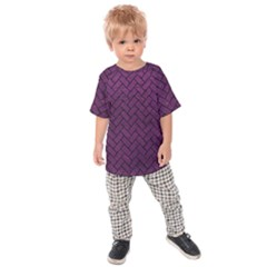 Brick2 Black Marble & Purple Leather Kids Raglan Tee
