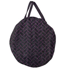 Brick2 Black Marble & Purple Leather (r) Giant Round Zipper Tote by trendistuff