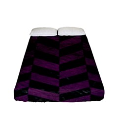 Chevron1 Black Marble & Purple Leather Fitted Sheet (full/ Double Size) by trendistuff