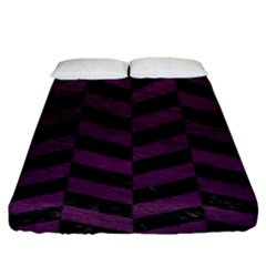 Chevron1 Black Marble & Purple Leather Fitted Sheet (king Size) by trendistuff