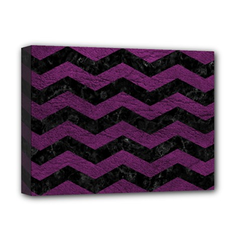 Chevron3 Black Marble & Purple Leather Deluxe Canvas 16  X 12   by trendistuff