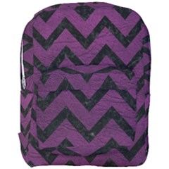 Chevron9 Black Marble & Purple Leather Full Print Backpack by trendistuff