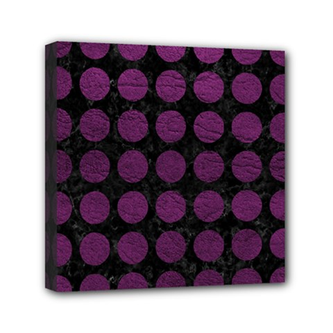 Circles1 Black Marble & Purple Leather (r) Mini Canvas 6  X 6