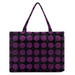 Circles1 Black Marble & Purple Leather (r) Zipper Medium Tote Bag by trendistuff