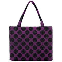 Circles2 Black Marble & Purple Leather Mini Tote Bag by trendistuff