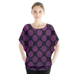 Circles2 Black Marble & Purple Leather (r) Blouse by trendistuff