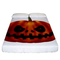 Halloween Pumpkin Fitted Sheet (king Size) by Valentinaart
