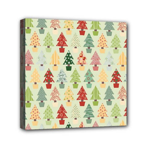 Christmas Tree Pattern Mini Canvas 6  X 6  by Valentinaart