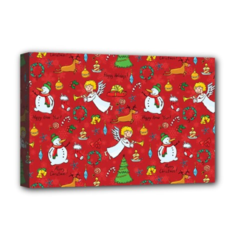 Christmas Pattern Deluxe Canvas 18  X 12   by Valentinaart