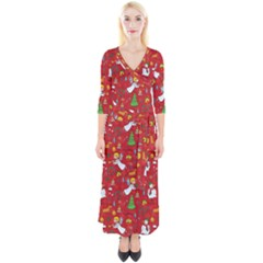 Christmas Pattern Quarter Sleeve Wrap Maxi Dress by Valentinaart