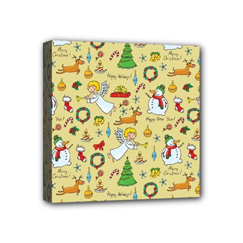 Christmas Pattern Mini Canvas 4  X 4  by Valentinaart