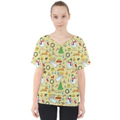 Christmas Pattern V Neck Dolman Drape Top