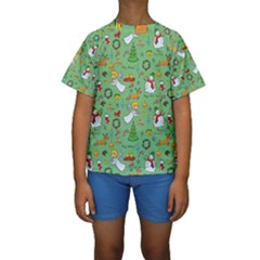 Christmas Pattern Kids  Short Sleeve Swimwear by Valentinaart