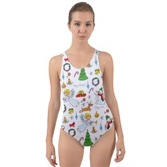 Christmas Pattern Cut Out Back One Piece Swimsuit by Valentinaart