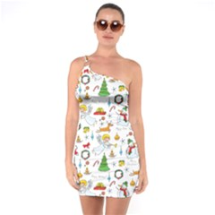 Christmas Pattern One Soulder Bodycon Dress