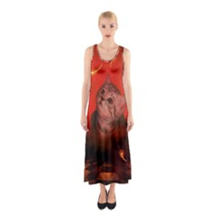 Cute Little Kitten, Red Background Sleeveless Maxi Dress by FantasyWorld7