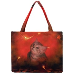 Cute Little Kitten, Red Background Mini Tote Bag by FantasyWorld7