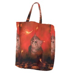 Cute Little Kitten, Red Background Giant Grocery Zipper Tote by FantasyWorld7