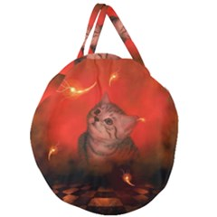 Cute Little Kitten, Red Background Giant Round Zipper Tote by FantasyWorld7