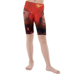 Cute Little Kitten, Red Background Kids  Mid Length Swim Shorts by FantasyWorld7