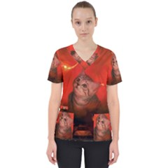 Cute Little Kitten, Red Background Scrub Top by FantasyWorld7