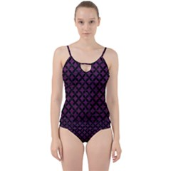 Circles3 Black Marble & Purple Leather Cut Out Top Tankini Set by trendistuff