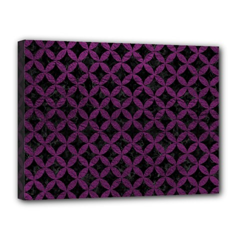Circles3 Black Marble & Purple Leather (r) Canvas 16  X 12  by trendistuff