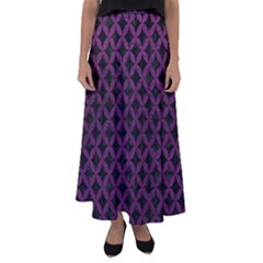 Circles3 Black Marble & Purple Leather (r) Flared Maxi Skirt by trendistuff