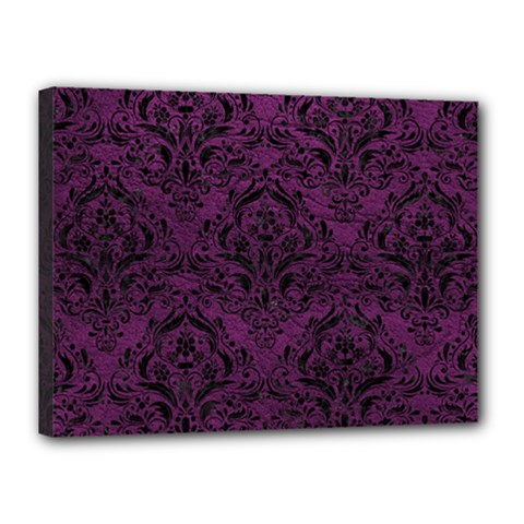Damask1 Black Marble & Purple Leather Canvas 16  X 12  by trendistuff