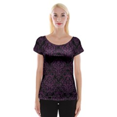 Damask1 Black Marble & Purple Leather (r) Cap Sleeve Tops by trendistuff