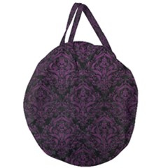 Damask1 Black Marble & Purple Leather (r) Giant Round Zipper Tote