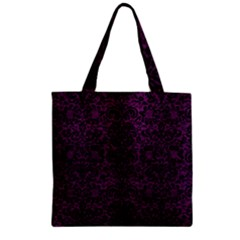 Damask2 Black Marble & Purple Leather Zipper Grocery Tote Bag by trendistuff