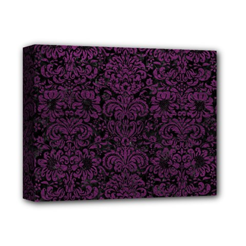 Damask2 Black Marble & Purple Leather (r) Deluxe Canvas 14  X 11  by trendistuff